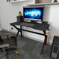 Gaming Computer Desk with LED Lights Cup Holder Headphone Hook 120x60x75cm