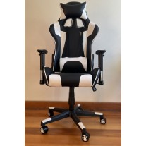 High Back 180 degrees tilt Ergonomic Gaming Office Executive Racing Chair Seat -Black and White