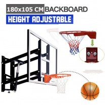 Wall-Mount 10mm Tempered Glass Basketball Backboard Height Adjustable 180x105cm