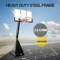 54 Inch Tempered Glass Portable Basketball Ring System Slam Dunk Height Adjustable 2.3-3.05m