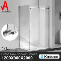 Shower Screen 1200x900x2000mm Frameless Glass Sliding Door