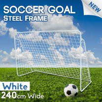 Soccer Goal 240cm Steel Frame Portable Football Net No Ball Goals