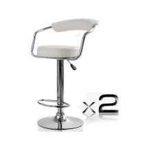 2x White PU Leather Half-Moon Kitchen Bar Stools