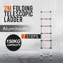 2m Telescopic Aluminium Ladder Fully Extendable