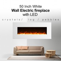 "1500W 50"" White Wall Mounted Electric Fireplace, Heater, Fire, Flame"