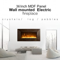 "1500W 36"" Wooden Frame (MDF) Wall Mounted Electric Fireplace Heater"