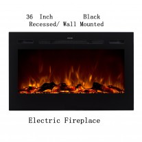 "36"" Black Built-in Recessed / Wall mounted Heater Electric Fireplace"