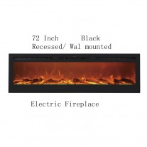 """72"""" Black Built-in Recessed / Wall mounted Heater Electric Fireplace (PRE-ORDER)"""