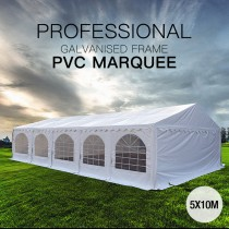 5x10m Premier Grade Heavy Duty Galvanized Frame PVC Fabric Party Tent Marquee (500g/m2)