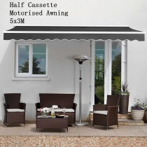 5.5 x 3m Commercial Grade Half Cassette Electric Folding Awning Black