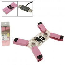 Foldable Pink Mini USB Folding 2 Fan Laptop PC Cooling Cooler Pads