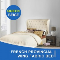 French Provincial Wing Fabric Bed Frame Queen Beige