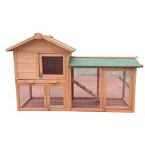 Villa Chicken Coop Rabbit Hutch Guinea Pig Ferret Cage With Tray and Run 1500(L)*670(W)*875(H)mm