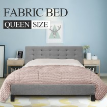 Fabric Bed Frame (Queen size, Grey color)