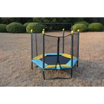4.5FT / 55 inch Hexagon Springless Mini Trampoline with Enclosure Set & Chin Up Bar