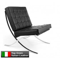 Barcelona Single Sofa Chair Replica Black Premium Italian Leather
