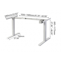 Electric Height-adjustable Computer & Laptop Standing Desk Single Motor White Frame only