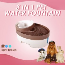 3L Auto Waterfall Drinking Fountain Cat dog Pet Drinker Water Bowl with Filter (Brown)