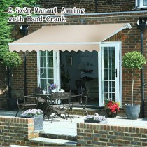 2.5x2m Outdoor Manual Folding Arm Retractable Awning Shade Deck Sun Shelter Cream