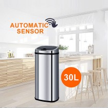 Stainless Steel Sensor Bin for Kitchen Office 30L