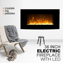 """1500W 36"""" Black Curved Wall Mounted Electric Fireplace, Heater, Fire, Flame"""