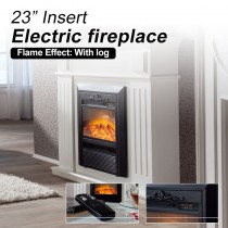 2000W Wood Veneer Electric Fireplace Heater Mantel Flame White