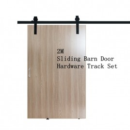 2M Sliding Barn Door Hardware Track Set Kit Powder Coat Steel Black