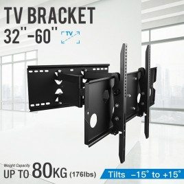 "32 - 60"" TV Wall Mount Bracket with Tilt Swivel and Extendable Double Arms"