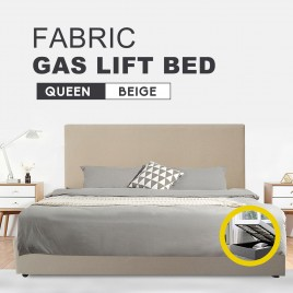 Fabric Square Tufted Gas Lift Storage Bed Frame Queen Beige CB120
