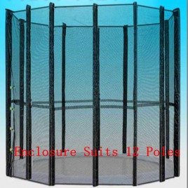 Trampoline Replacement Safety Net 16FT Netting Enclosure 12 Poles