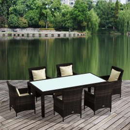 7pc PE Wicker Aluminium Outdoor Dining Set - Brown (9101)