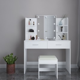 Dressing Table Mirror Makeup Jewellery Cabinet w/Light Bulbs Stool White