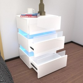 Modern RGB LED Bedside Table Side Table Nightstand High Gloss Furniture Storage White
