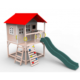 Outdoor Wooden Tower Kids Play Cubby House Cubbyhouse Sandpit Slide Climbing Rock 2124