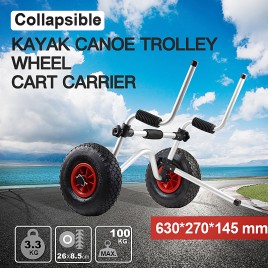 Aluminium Foldable Kayak Collapsible Canoe Wheel Cart Boat Carrier Trolley