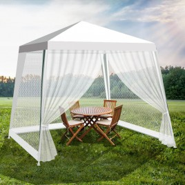 3x3m White PE Easy Up Outdoor Party Gazebo Marquee Canopy Tent with mosquito net mesh sidewalls