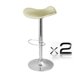 2 x PVC Leather Bar Stool With Gas Lift - Cream