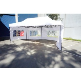 3X6M Folding Gazebo Outdoor Marquee Pop Up White 3 sided window wall
