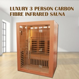2019 Model 3 Person Luxury Carbon Fibre Infrared Sauna 10 Heating Panel 003G