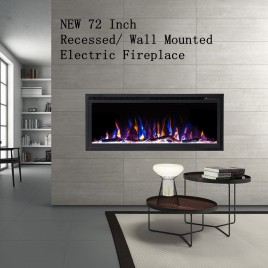 """New Model 72"""" Slim Trim Black Built-in Recessed / Wall mounted Heater Electric Fireplace (Pre-order)"""