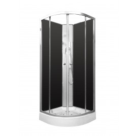 Shower Screen Cubicle Enclosure W/T Base Bathroom 800x800x2300mm BLACK CHROME