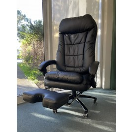 Deluxe Executive Reclining Office Chair with Massager Black