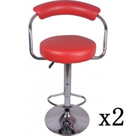 2x Red PU Leather Half-Moon Kitchen Bar Stools (AD)