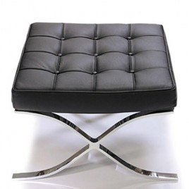 Barcelona Ottoman Replica Premium Italian Leather Black