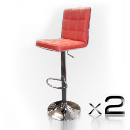 Set of 2 Red Faux-Leather Padded Bar Stools Height Adjustable