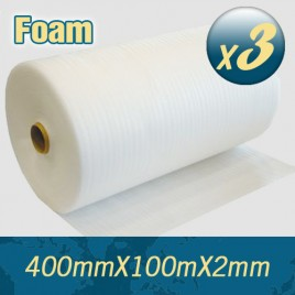 3 x Polyfoam Foam Wrap Roll 400mm x 100m 2mm Thick