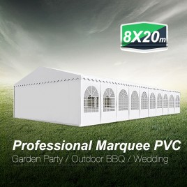 Premier Grade Galvanised Frame PVC Fabric 8x20M Marquee Heavy Duty Party Tent