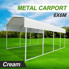 Metal Steel Carport 6x6m Cream