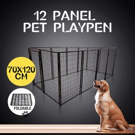 12 Panel 70x120(H)cm Pet Enclosure Dog Kennel Run Animal Fencing Fence