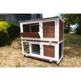 2 Storey Rabbit Hutch House Guinea Pig Chicken Coop with Tray and Wheels